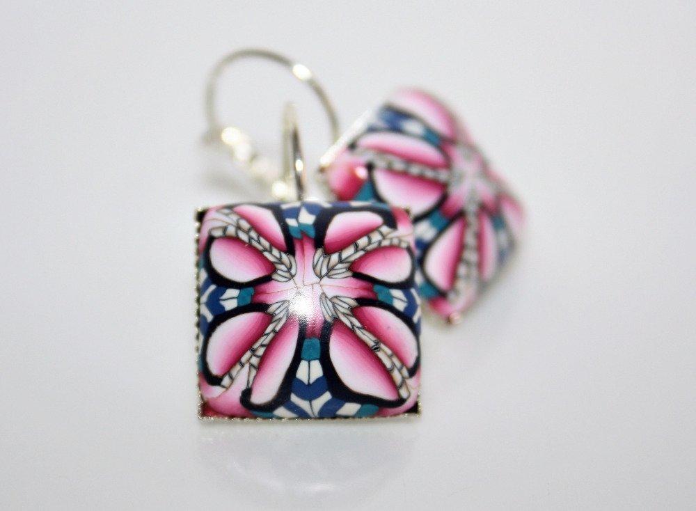 Boucles d'oreilles Cabochons polymère Tons bleu-rose