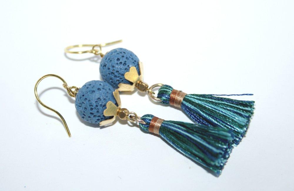 Boucles d'oreilles Pierre de Lave Tons bleus