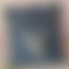 Housse de coussin attrape rêves bleu et passepoil jaune fluo