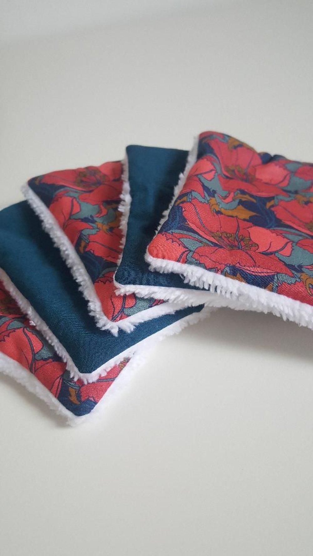 5 lingettes démaquillantes en liberty little eustacia rose et bleu canard