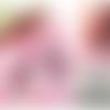 Boucle d'oreilles en soutache - modèle unique de créateur - rose strass perles pompon mariage mariée
