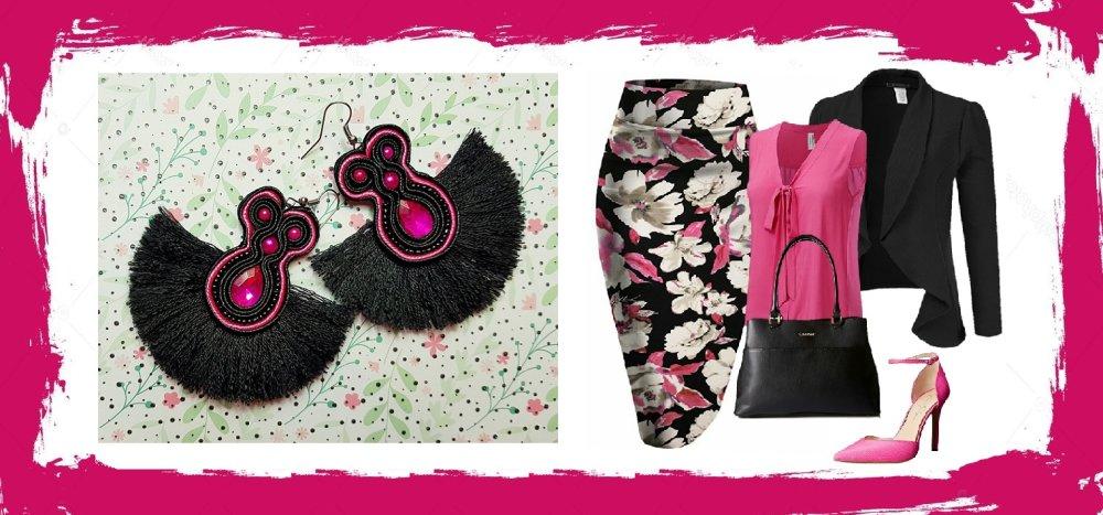 Boucle d'oreilles en soutache - modèle unique de créateur - rose & noir -  perles pompon