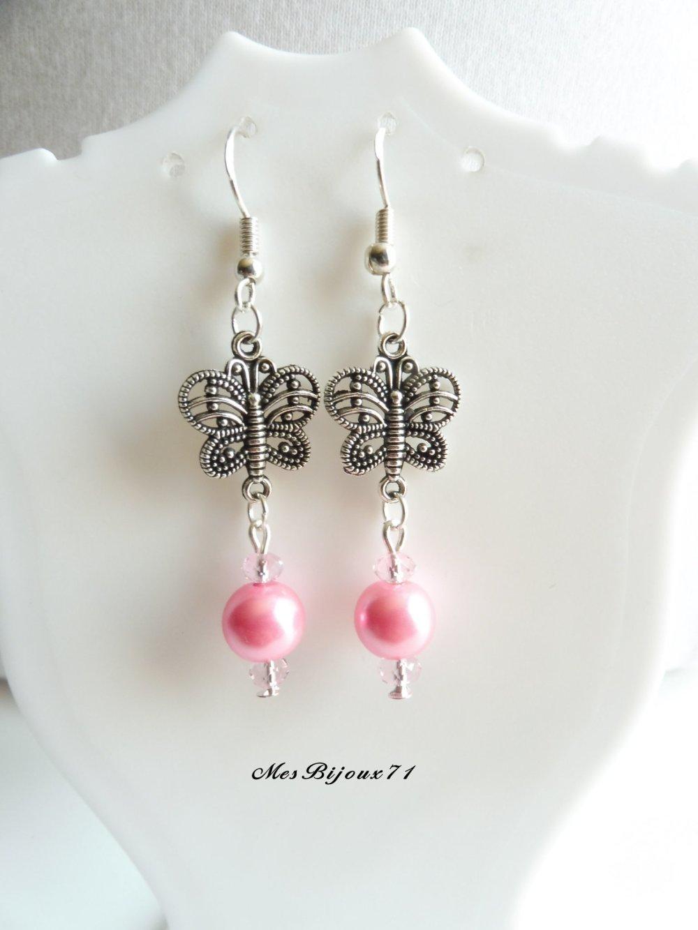 Parure rose clair sautoir et boucles d'oreilles papillon, bijoux rose