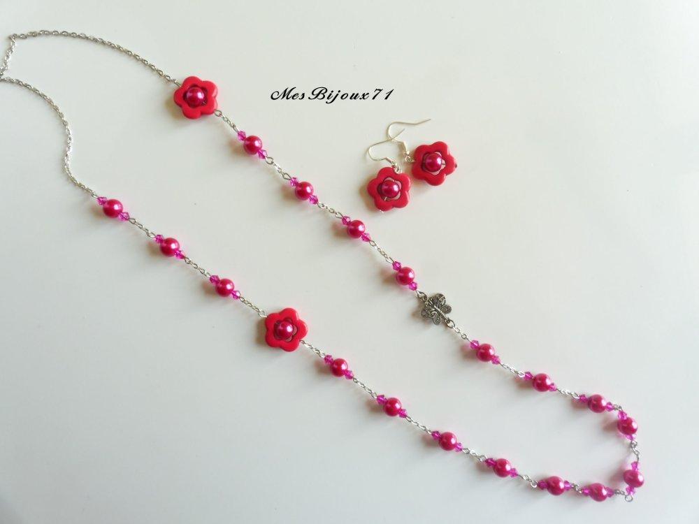 Parure rose fuchsia sautoir et boucles d'oreilles assortis fleurs en Turquoise, bijoux rose