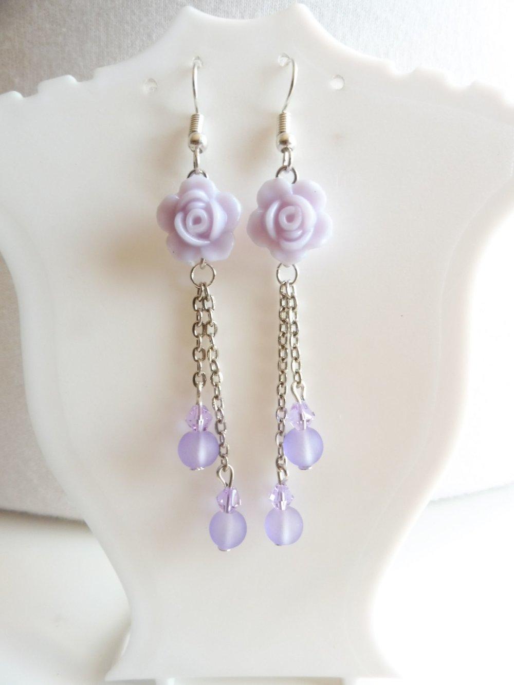 VENDU Boucles d'oreilles parme avec des roses, bijoux violet