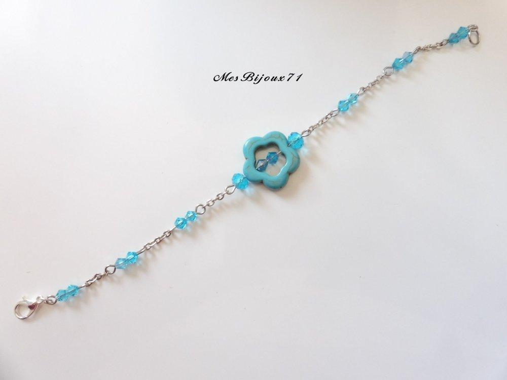Parure bijoux bleu turquoise collier double, bracelet et boucles d'oreilles assorties, fleurs en Turquoise, bijoux bleu turquoise