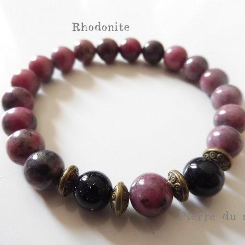 Bracelet Bouddhiste <br>Howlite et Rhodonite