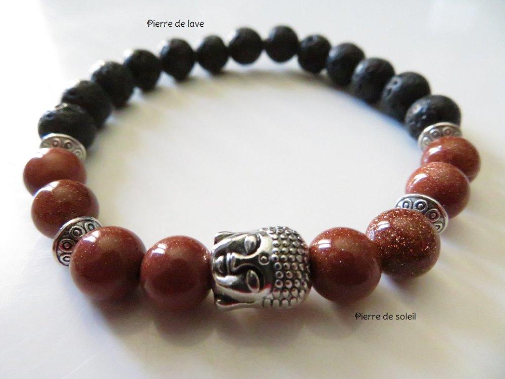 """Bracelet spirituel, zen, bouddha - bracelet unisexe """"pierre de lave noir"""" et """"pierre de soleil brun"""" avec Bouddha"""