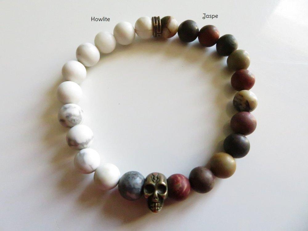 """Bracelet unisexe en pierres naturelles """"howlite et Jaspe Picasso"""" avec skull"""