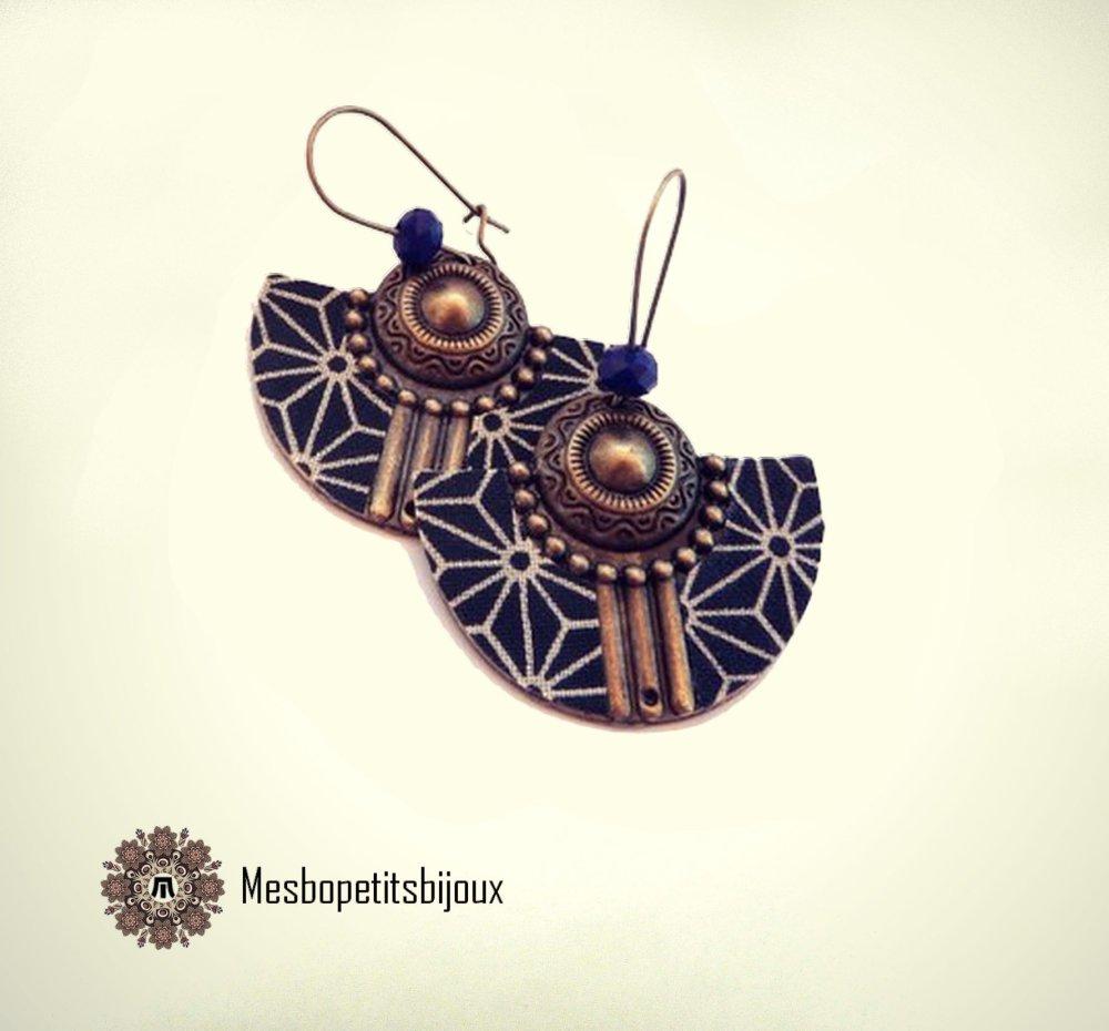 boucles d'oreilles japonisantes en tissu étoile asanoha bleu, bijou tissu, mode femme, bijou japonisant,