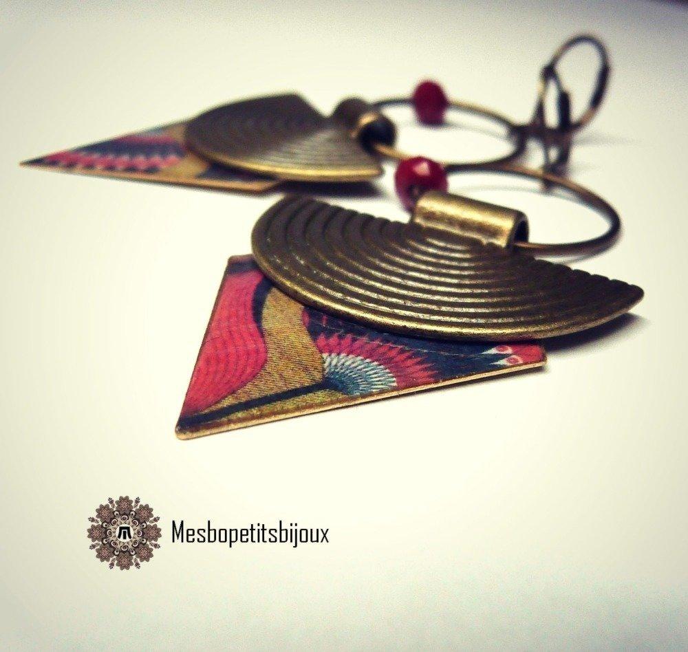 boucles d'oreilles ethniques, automne,bijoux papier,pièce unique,boucles couleurs jaune moutarde,terre,bijoux papier,