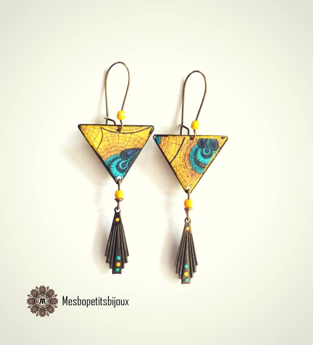 boucles d'oreilles originales triangle jaunes et bleues, inspiration wax,bijoux papier,bijou créateur, boucles artisanales légères,