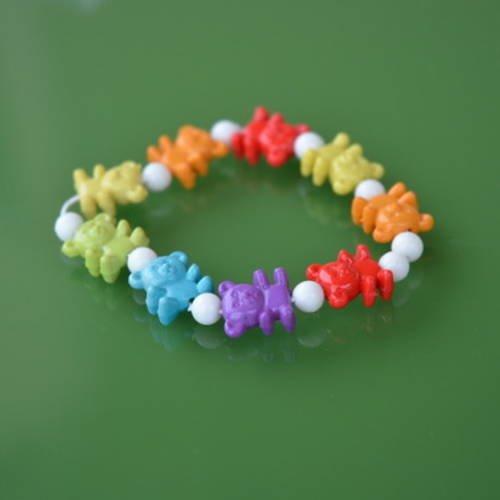 Kit bracelet enfant perles plastique motif oursons