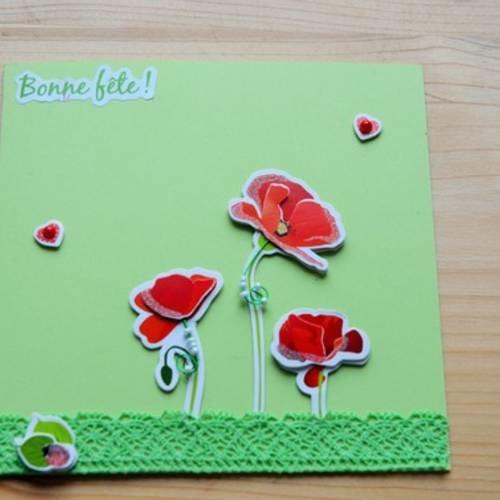 Jolie Carte Vert Anis Fleurs Rouges Bonne Fete Un Grand Marche