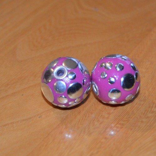 Lot 2 perles roses pois métal