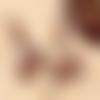 Boucles ethniques, boucles rustiques, perles africaines, pendant polymère, marron-bleu-cuivre, bobo-chic, création uniqu