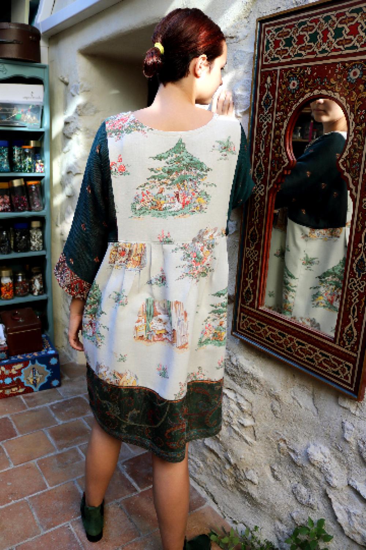 Robe-tunique boho chic, style campagne, OOAK