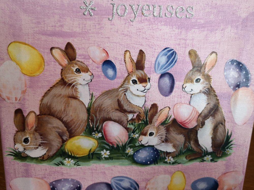 """Décoration de Pâques """"panier et cadre lapins"""""""