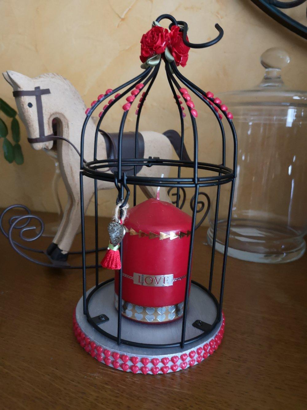 """Cage à oiseaux romantique """"St Valentin"""""""