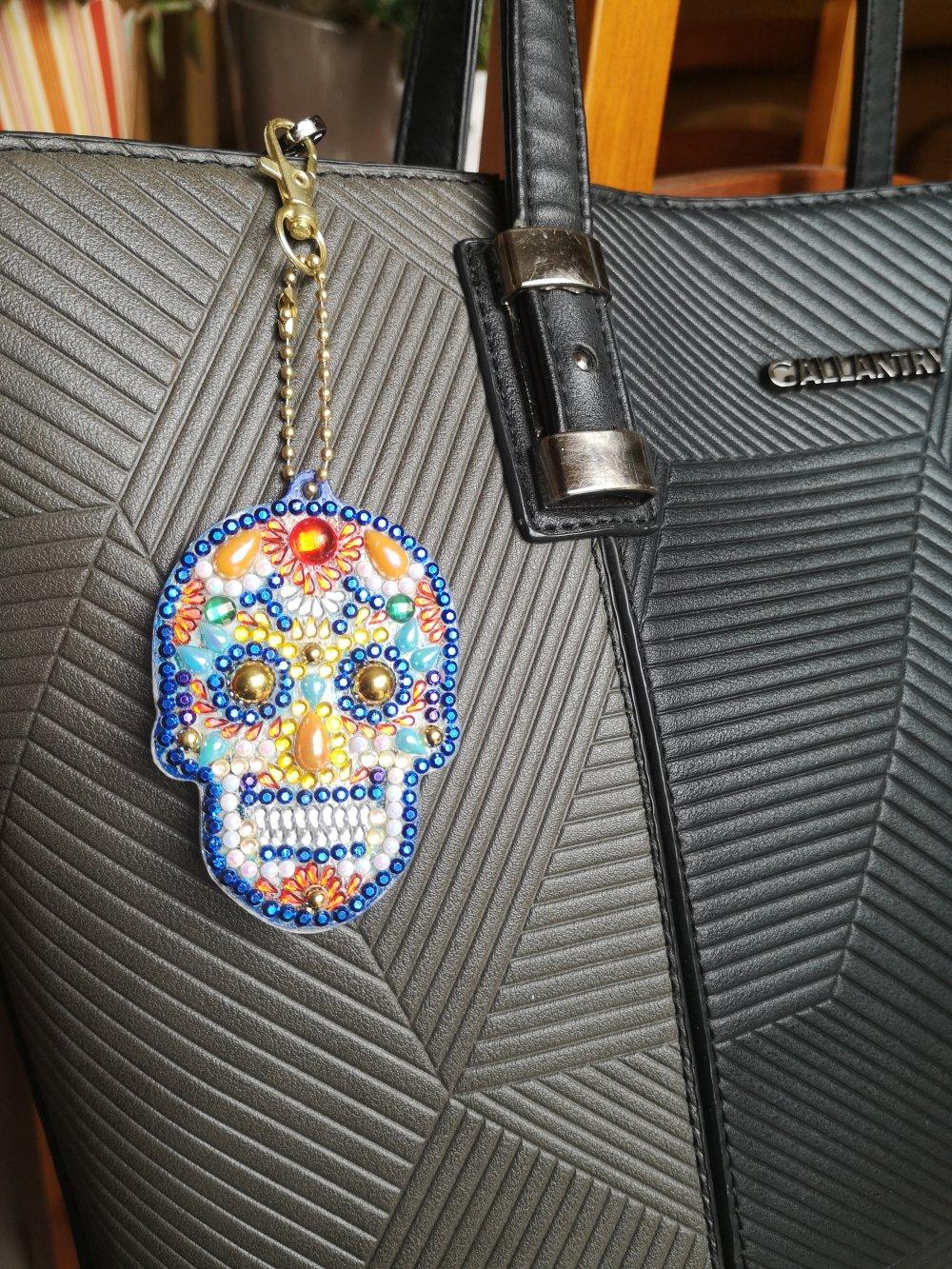 Vendu-Bijou de sac tête de mort en perles de diamants