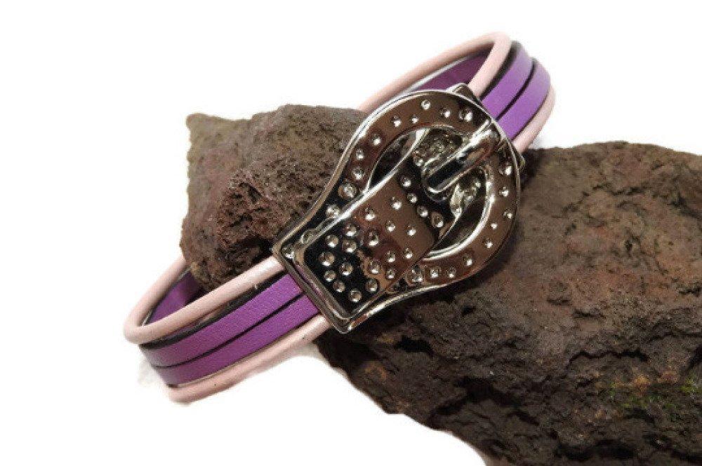 Bracelet cuir 2 plats violet, 2 ronds couleur nacré/rose Bijou breloque motif argenté rosace  Fermoir aimant