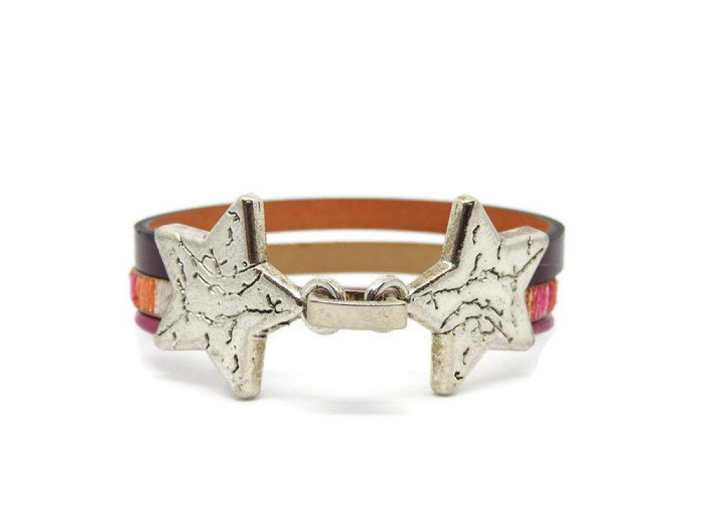 Bracelet tout cuir Fermoir métal argenté