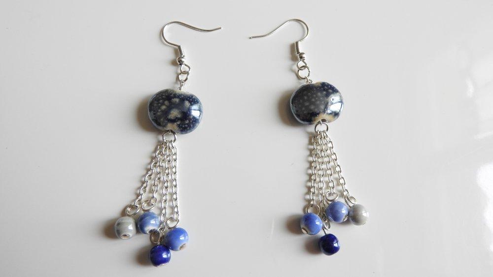 Boucles d'oreilles pendantes bleue