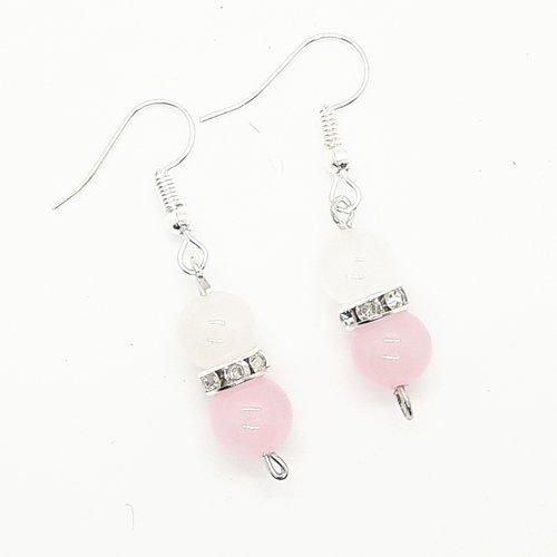 Boucles d'oreilles lithothérapie quartz rose et jade blanc