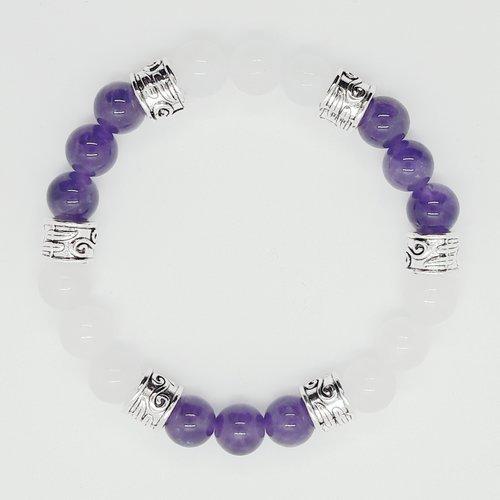 Bracelet lithothérapie jade blanc et améthyste 20 cm