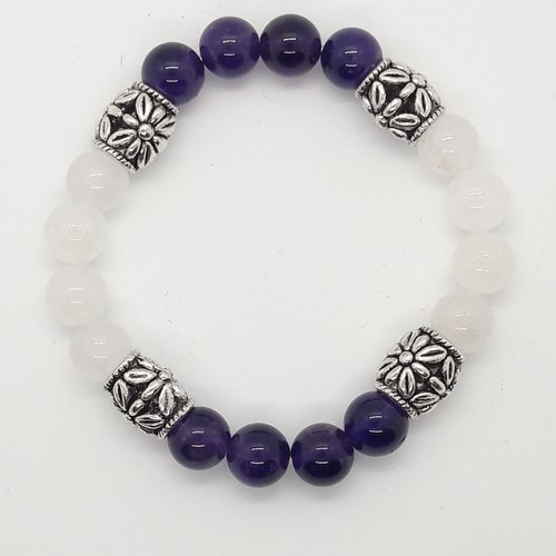 Bracelet lithothérapie jade blanc et améthyste 17 cm