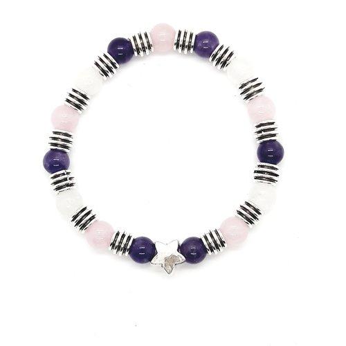 Bracelet lithothérapie bien-être quartz rose, améthyste et jade blanc 20 cm
