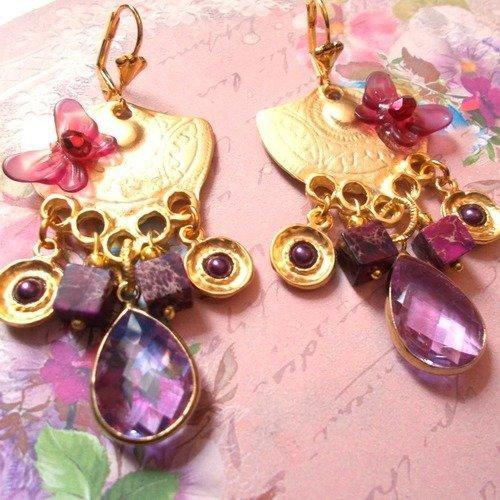 Boucles d'oreille orientales or et violette