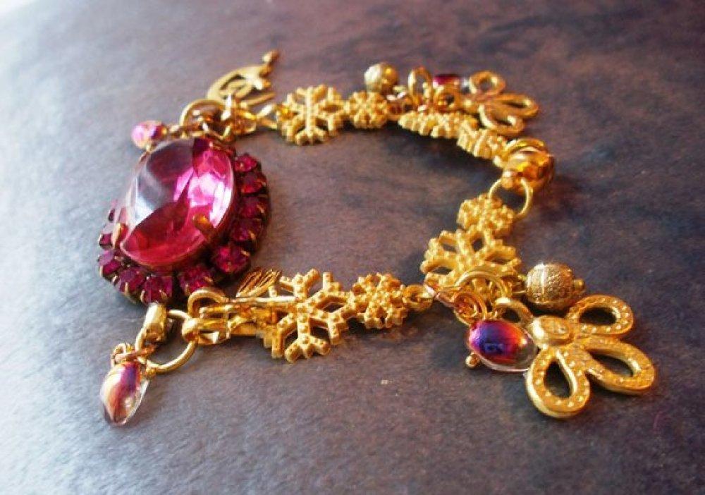 bracelet vintage plaqué or mat