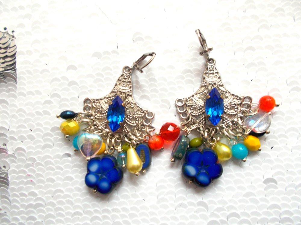 boucles d'oreilles bohème multicolores