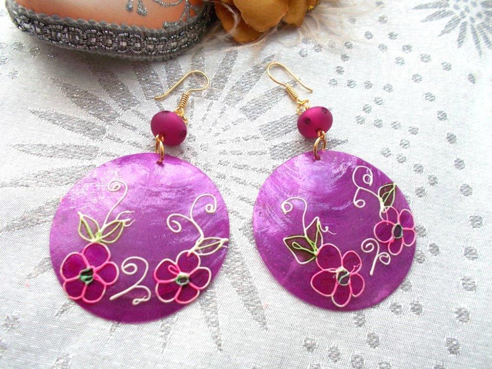 boucles d'oreilles bohème en camaieu de violet