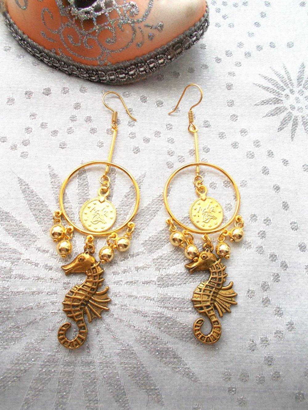 boucles d'oreilles bohème doré