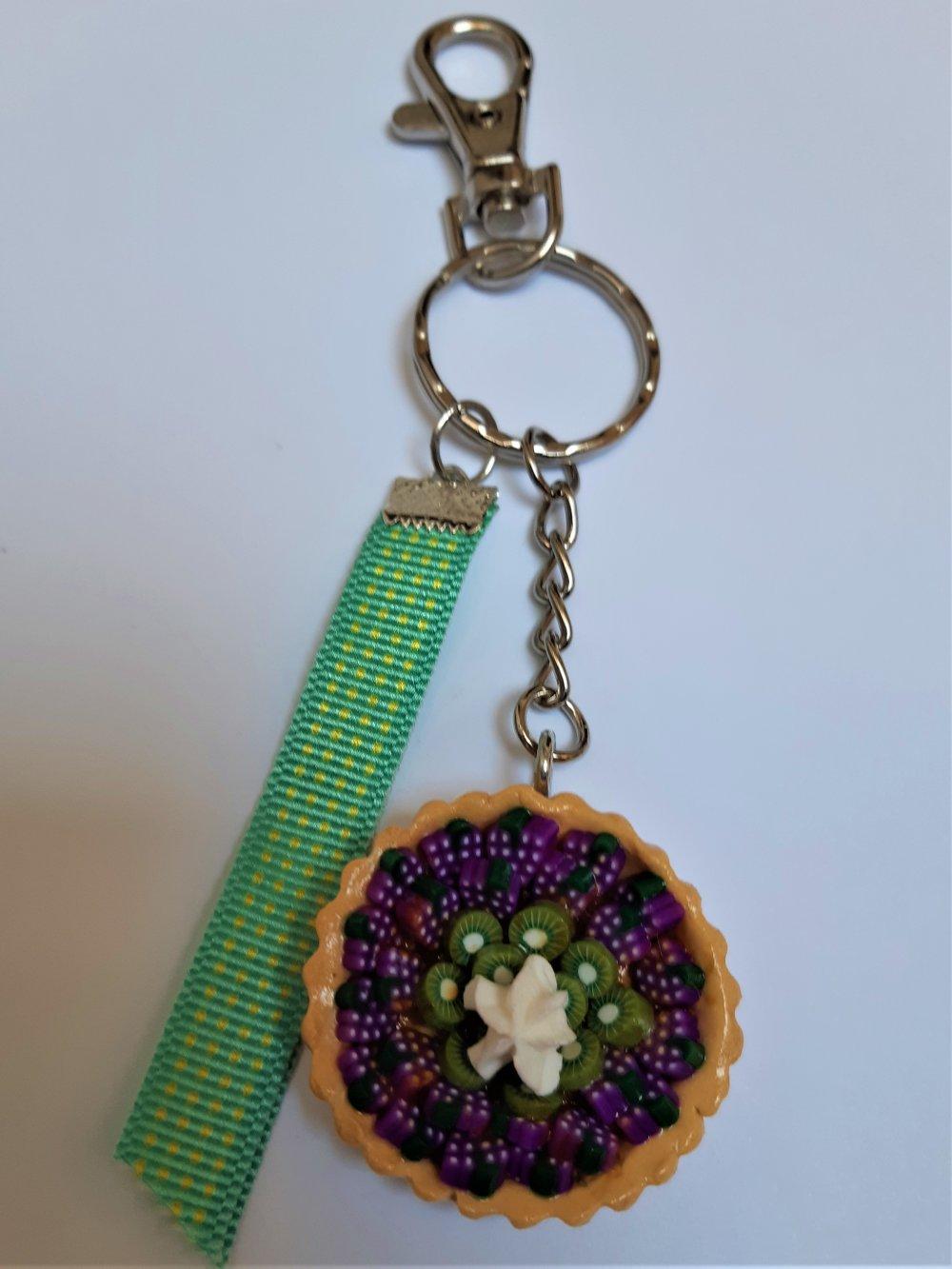 Bijou de sac / Porte-clés Tarte aux raisins et Kiwi