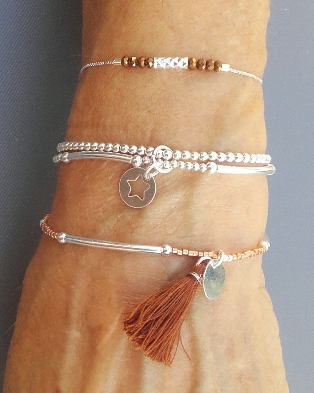 "Bracelet ""MAE"" bleu en argent 925"