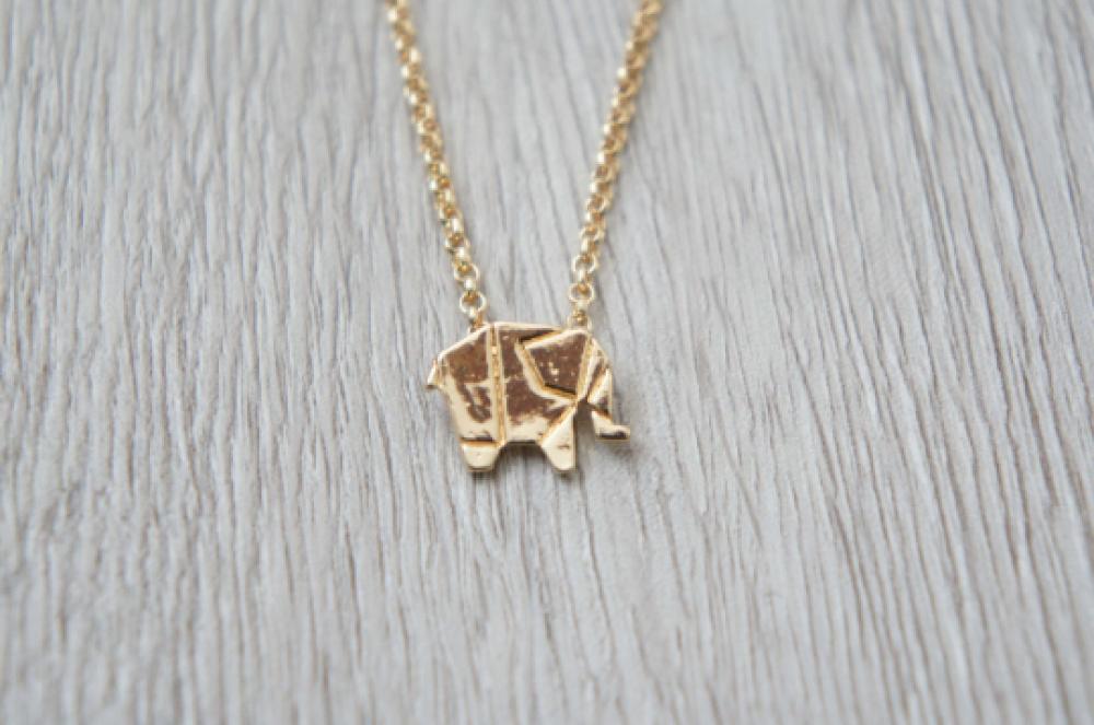 Collier pendentif origami - Éléphant doré