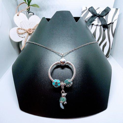 Collier pendentif o et charms style pandora