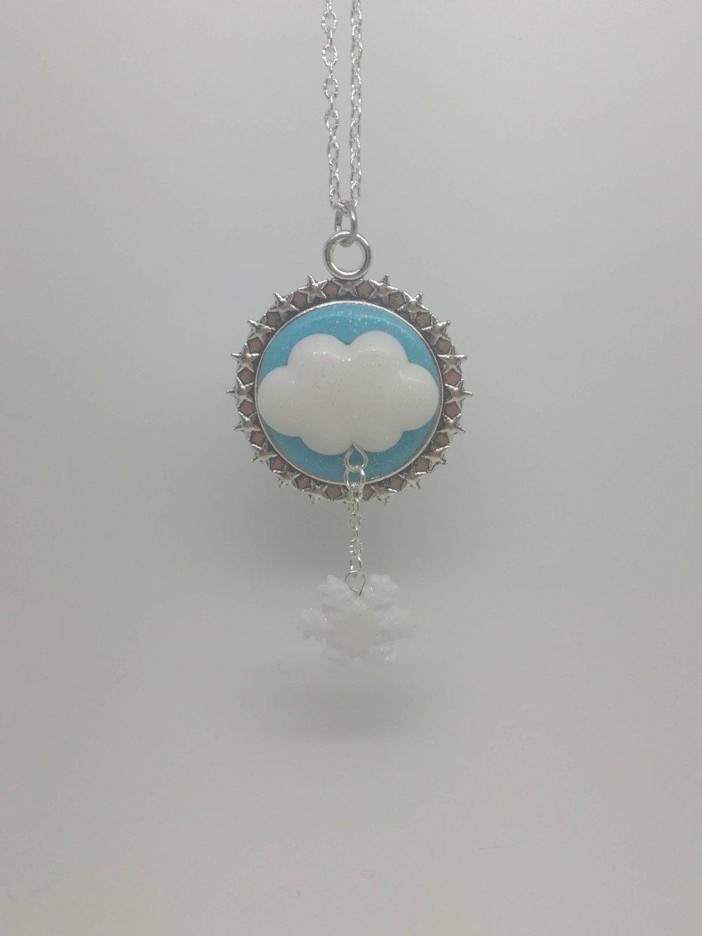 Collier nuage et flocon pailletés en fimo
