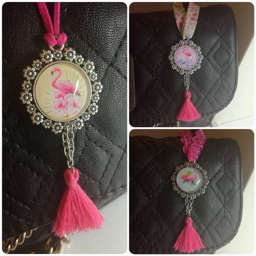 Bijoux de sac flamant rose,flamingo