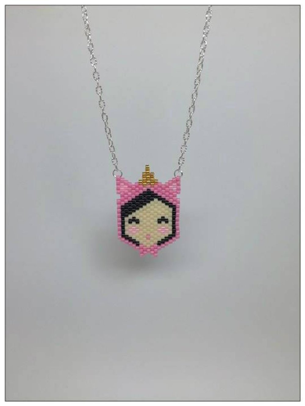 Collier petite fille licorne en perles miyuki