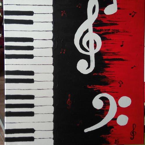 Tableau en peinture acrylique thème musique