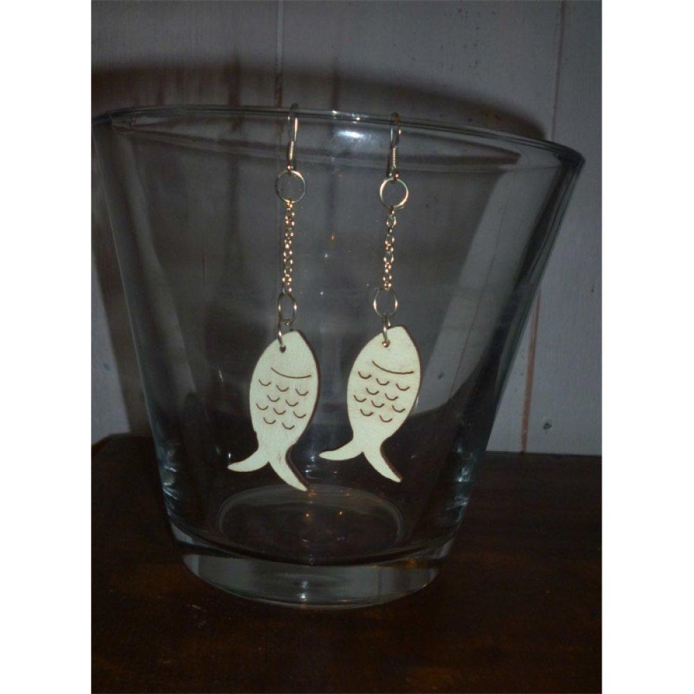 Boucles d'oreilles poisson en bois
