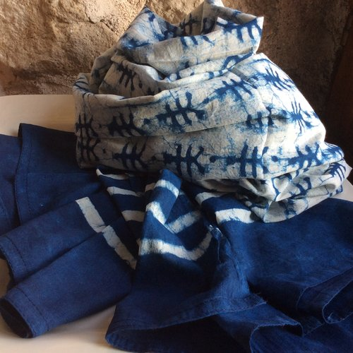 Étole artisanale 100% coton naturel bleu indigo