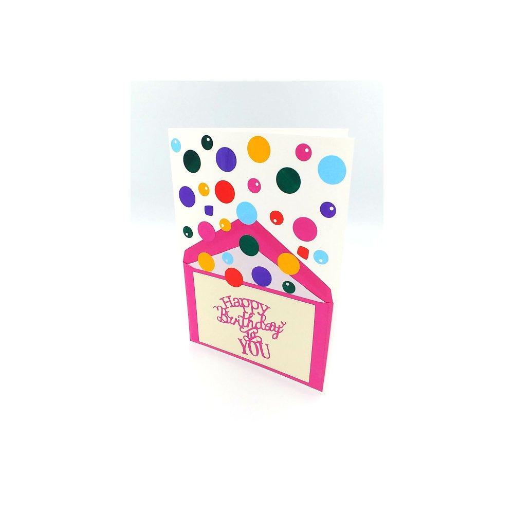 Carte Anniversaire Confettis Carte Anniversaire Explosive Pour Adulte Ou Enfant Birthday Card Un Grand Marche
