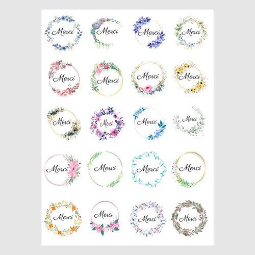 10 feuilles de sticker rond merci, 200 etiquettes autocollantes merci pour cadeau, emballage, mariage, anniversaire, scrapbooking