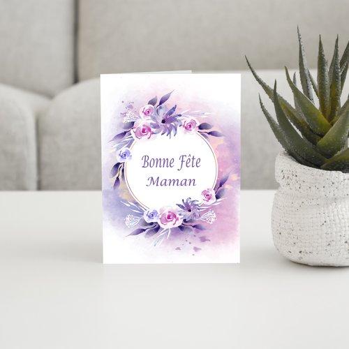 Carte bonne fête maman, cadeau maman, 3 motifs aux choix jaune violet rose