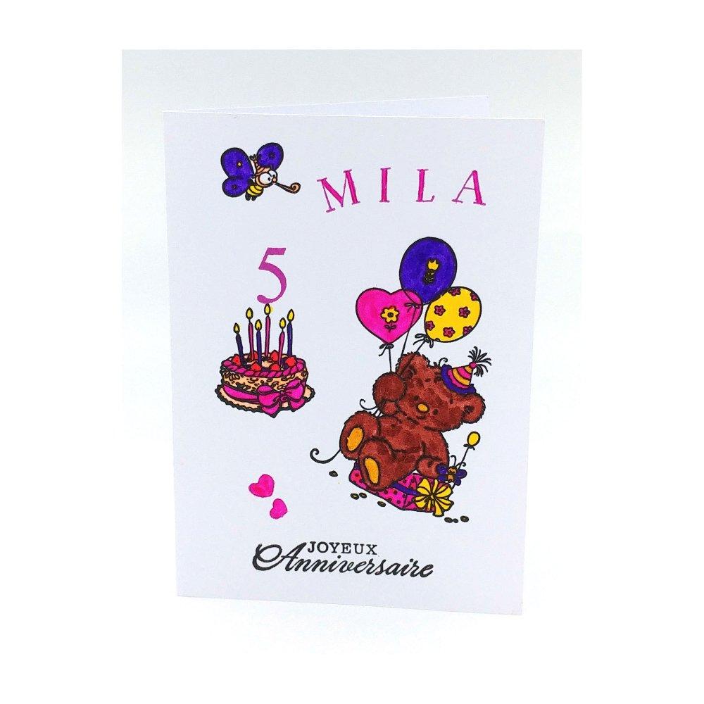 Carte Anniversaire 1 An 2ans 3 4 5 6 7 Ans Fille Carte Anniversaire Pour Fille Jolie Carte Prenom Un Grand Marche